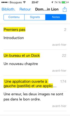 Notes dans iBooks pour iOS