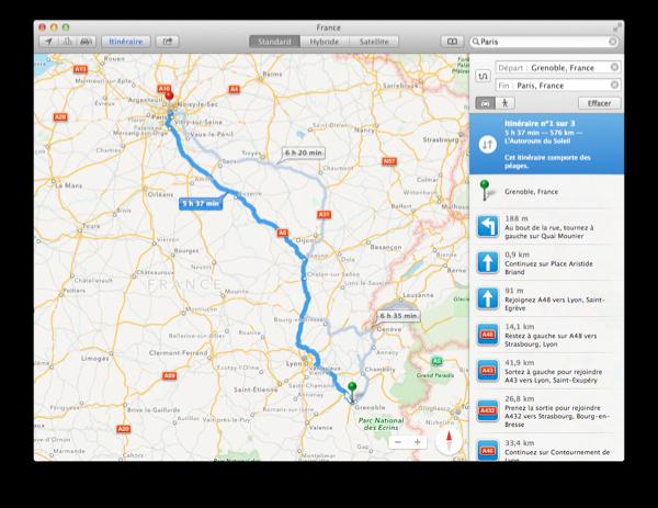 Itinéraire entre Grenoble et Paris