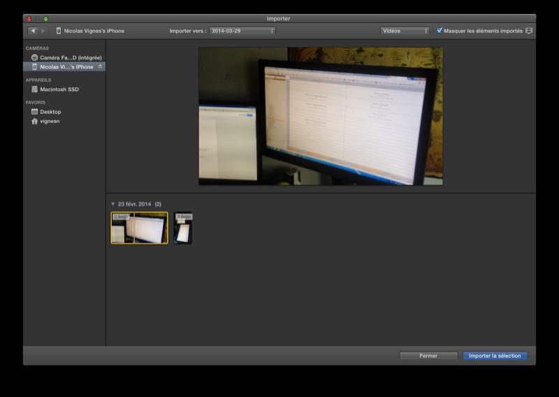 Fenêtre d'importation dans iMovie depuis une caméra