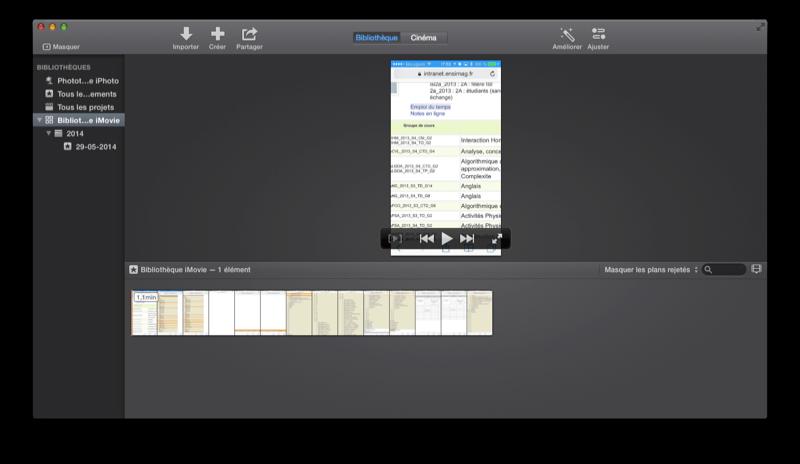 La bibliothèque d'iMovie