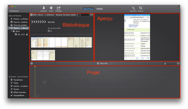 L'interface d'iMovie