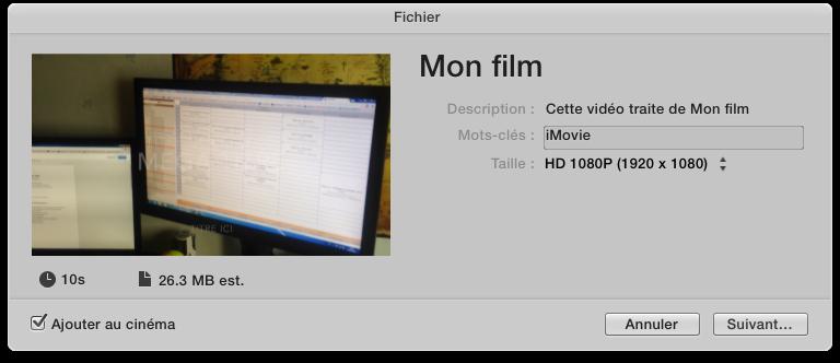 Exporter mon film sur mon ordinateur