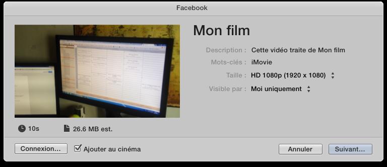 Exporter votre film vers Facebook