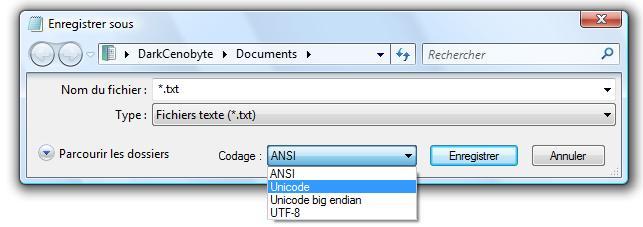 Codage Unicode Bloc-Note