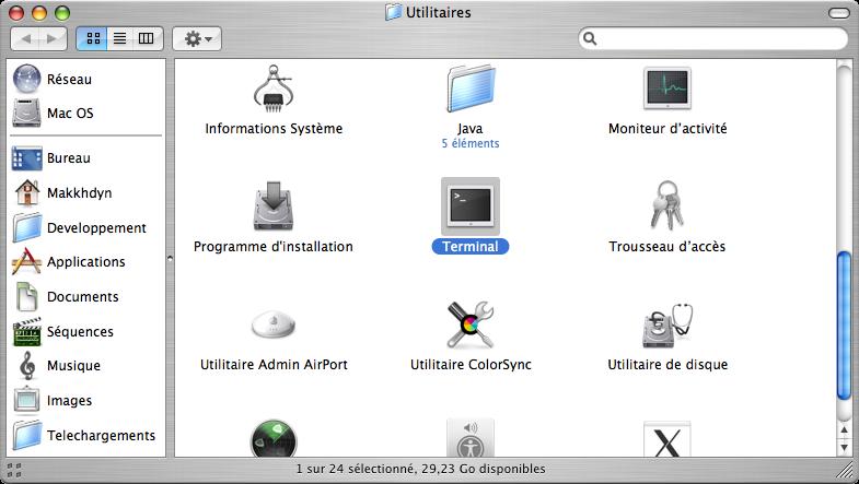 Ouvrir une console sous MAC OS X