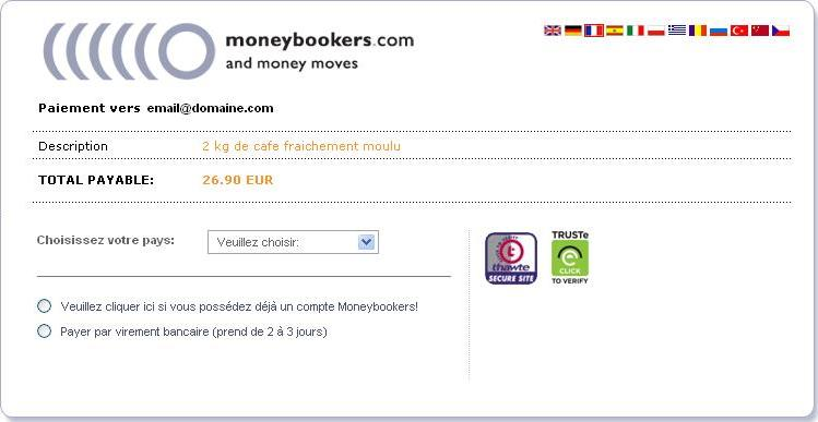 vente simple moneybookers