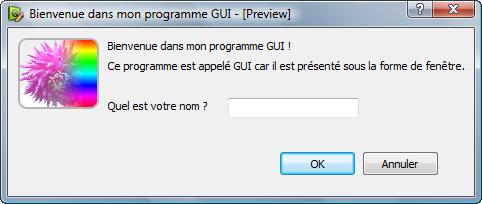 Programme avec GUI, ici sous Windows