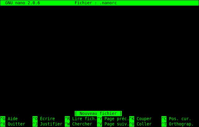 Un .nanorc neuf (et vide).Notez que le nom du fichier est déjà indiqué en haut de l'écran.