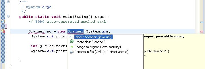 Importer la classe Scanner