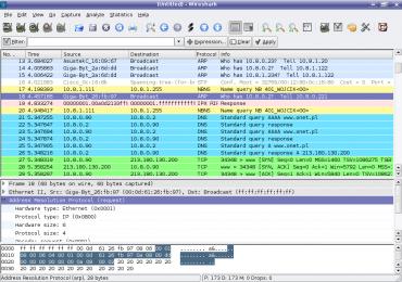 Wireshark intercepte les données qui circulent sur le réseau