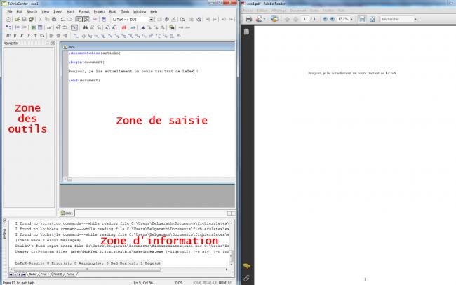 Éditeur LaTeX et lecteur PDF