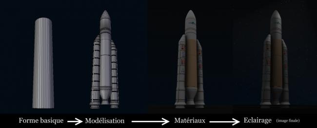 La construction de la fusée Ariane 5 en 3D