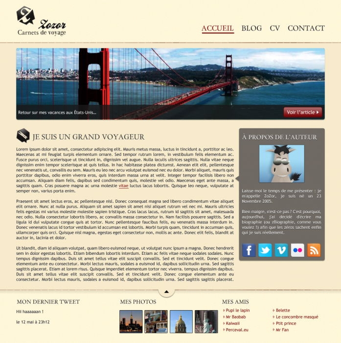 La maquette du site web que nous allons réaliser
