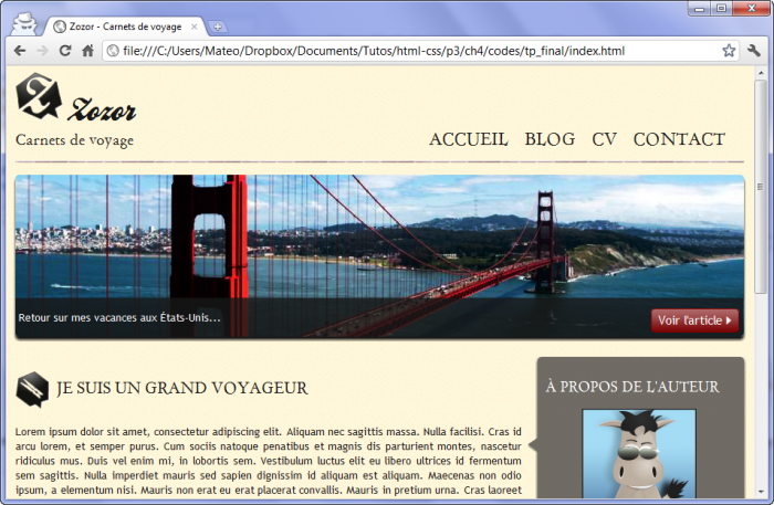 Apparence finale du site web