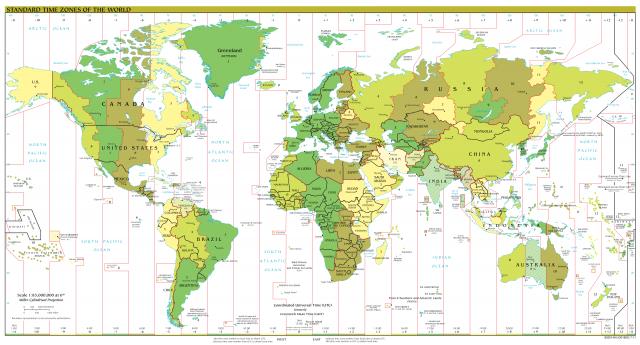 Représentation du monde avec les différents fuseaux horaires
