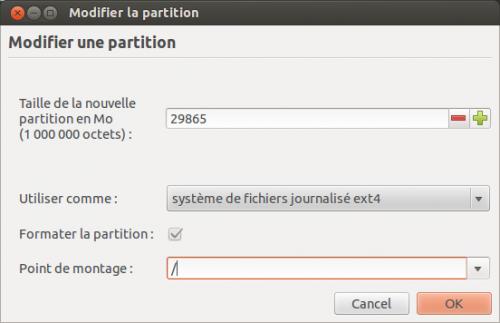Les paramètres à affecter pour la partition Linux