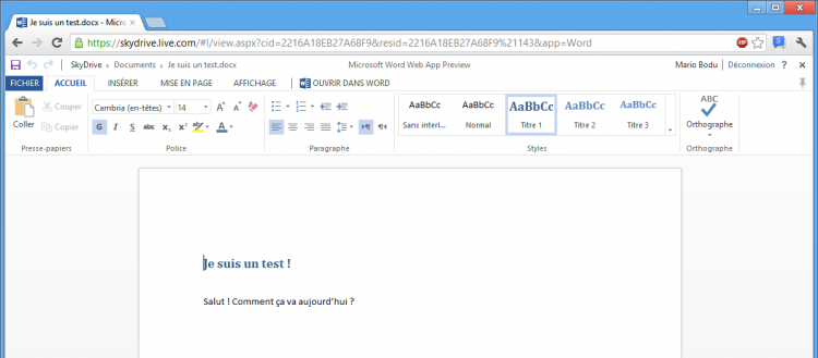 Interface de Word, version Web App