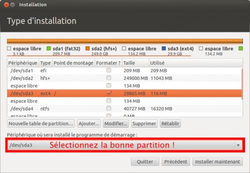 Sélectionnez la partition Linux pour l'installation de GRUB !