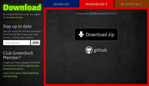 Page de téléchargement de GSAP