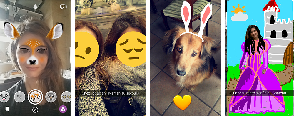 Captures d'écran de l'application Snapchat