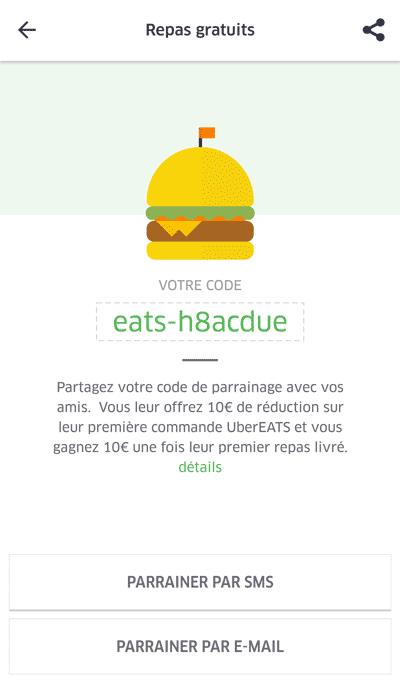 Programme de parrainage Uber Eats