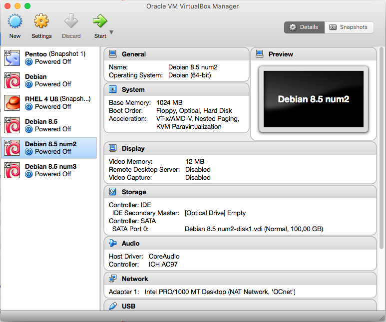 Interface de VirtualBox