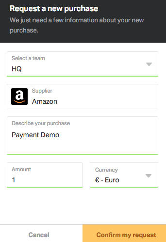 Tell Spendesk what you're going to buy, where, and how much