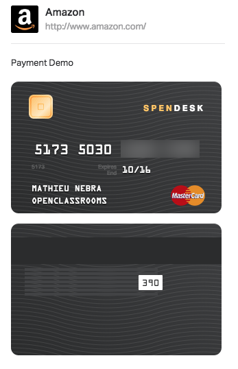 A unique credit card has been generated just for you!