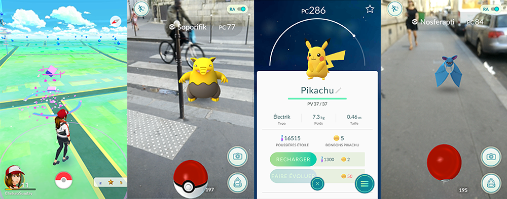Captures d'écran de l'application Pokémon Go
