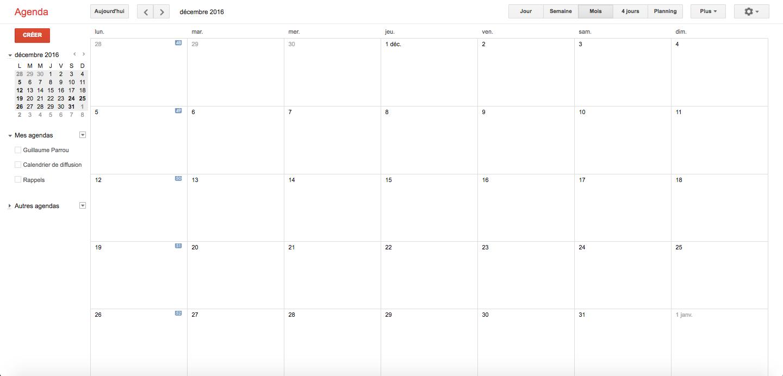 Un calendrier de diffusion vide (Google Calendar)