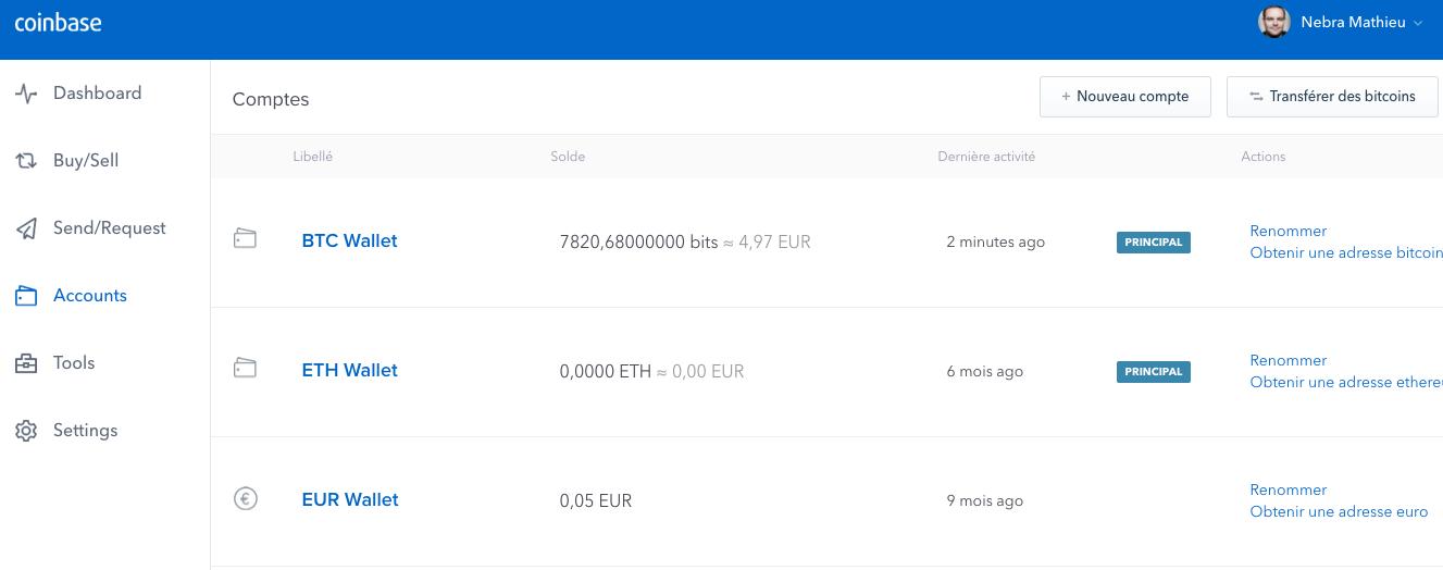 Vos comptes sur Coinbase