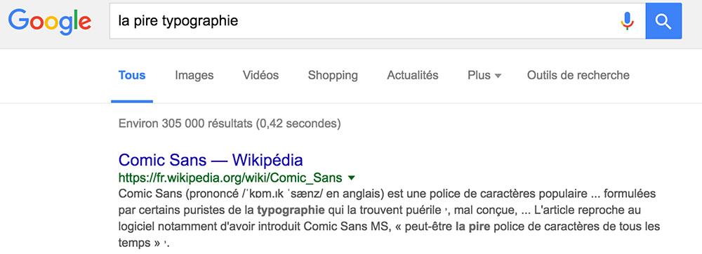 Capture d'écran d'une recherche sur Google