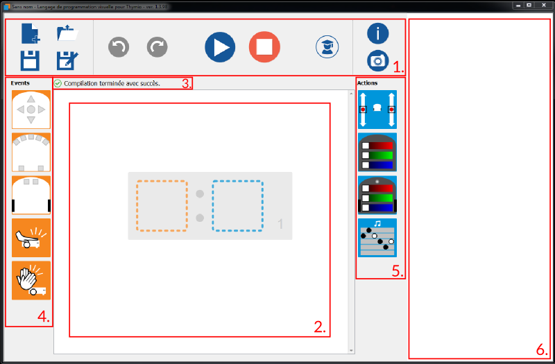 Interface du logiciel Aseba VPL