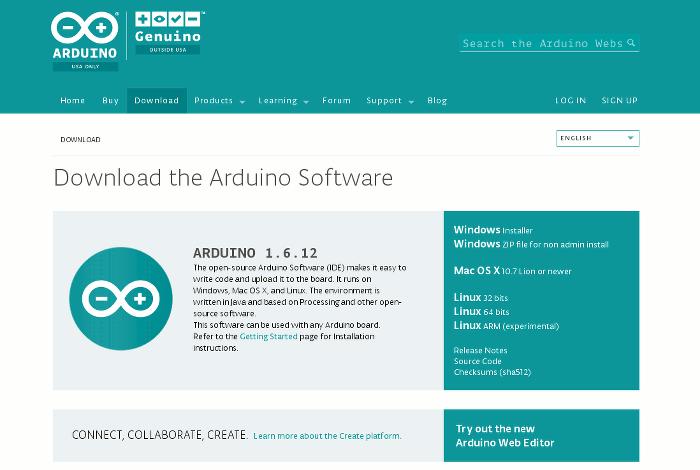Téléchargez l'interface de programmation d'Arduino
