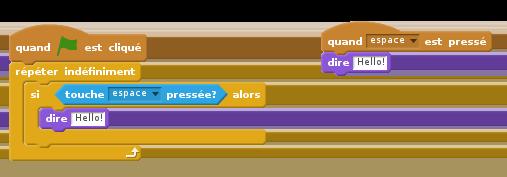Séquence comprenant une instruction conditionnelle à gauche, Gestion d'évènement à droite