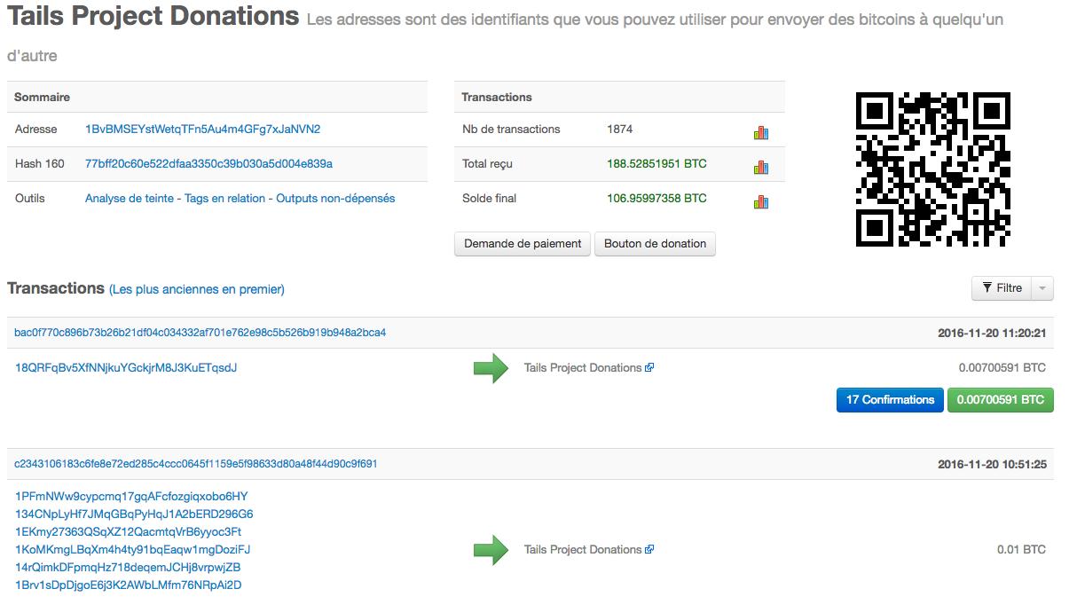 Détails d'une adresse sur le réseau Bitcoin
