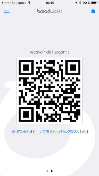 breadwallet vous donne une adresse et un QR Code à communiquer pour que vous puissiez recevoir de l'argent