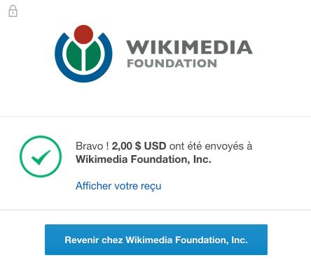 Le don a bien été reçu par Wikimedia !