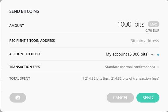 Ecran d'envoi de Bitcoins depuis l'application Ledger