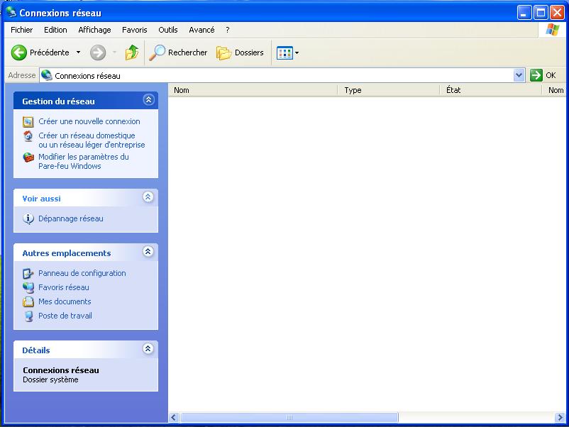 Virtualbox machine virtuelle windows xp aucune connexion for Fenetre windows xp
