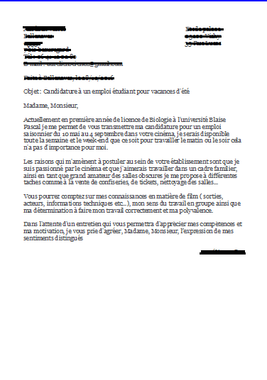 lettre de motivation job  u00e9tudiant universit u00e9