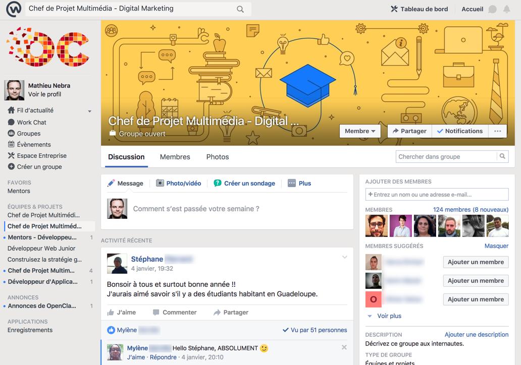 L'espace de discussion Facebook Workplace où l'entraide est reine