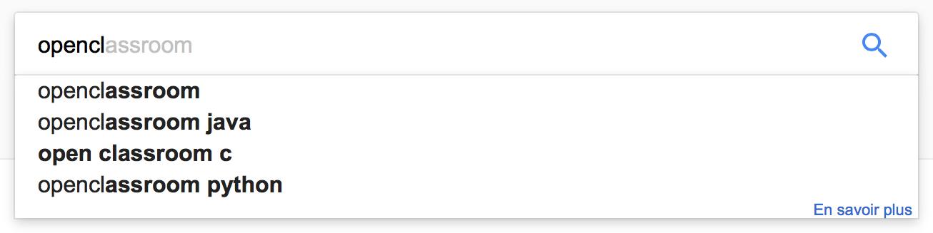 L'autocompletion avec Google