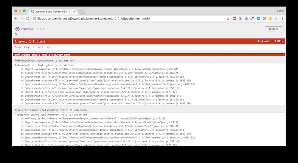 SpecRunner.html montre quels tests passent et échouent