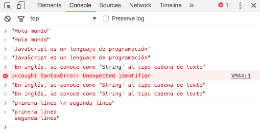 Observa el resultado al introducir cadenas de texto en la consola