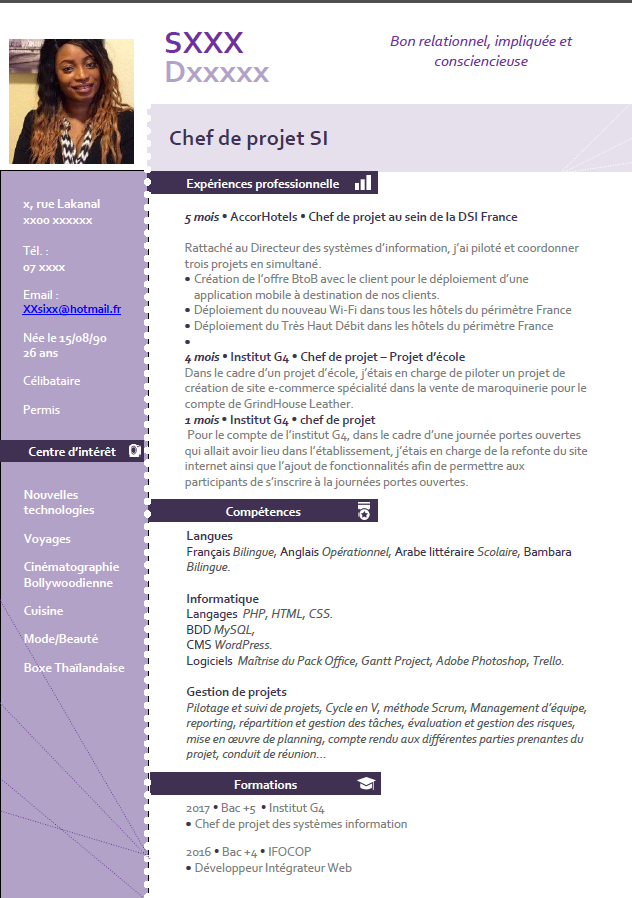 cv - cv gestion de projet par nicki223 - page 1