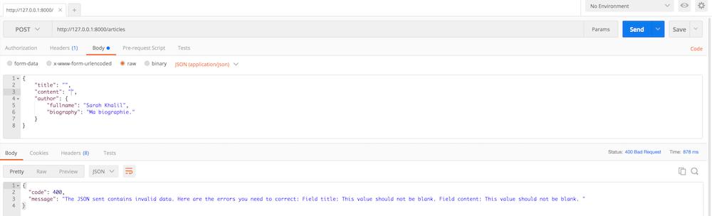 Réponse formatée lorsqu'une exception de type AppBundle\Exception\ResourceValidationException