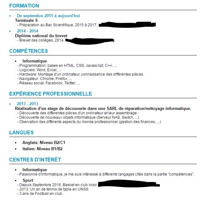 liste de centre d interet pour cv