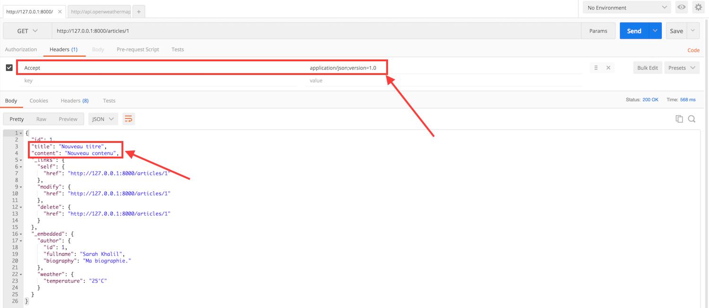 Requête HTTP avec entête Accept pour n'obtenir que les champs disponibles dans cette version