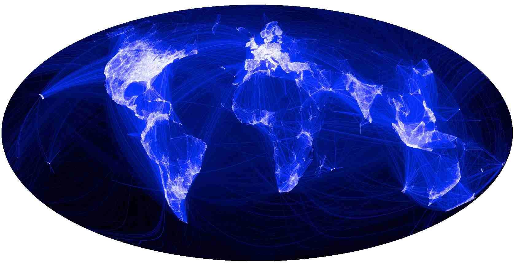 La carte planétaire du réseau social le plus utilisé au monde, en 2011. Cette carte montre avant tout que ce monde numérique ne concerne qu'une minorité de la population de la planète, celle qui a accès à Internet. © mondegeonumerique, T. Joliv